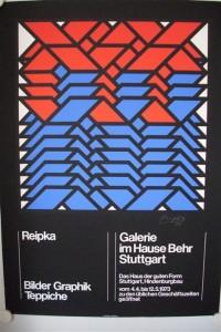 """Reipka, (Jürgen): Farbiges Domberger Siebdruck-Plakat der Ausstellung """"Bilder, Graphiken, Teppiche"""""""